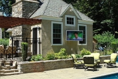 Outdoor tv and sound system with a view from the pool