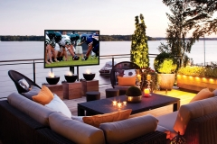 outdoor TV in seating area
